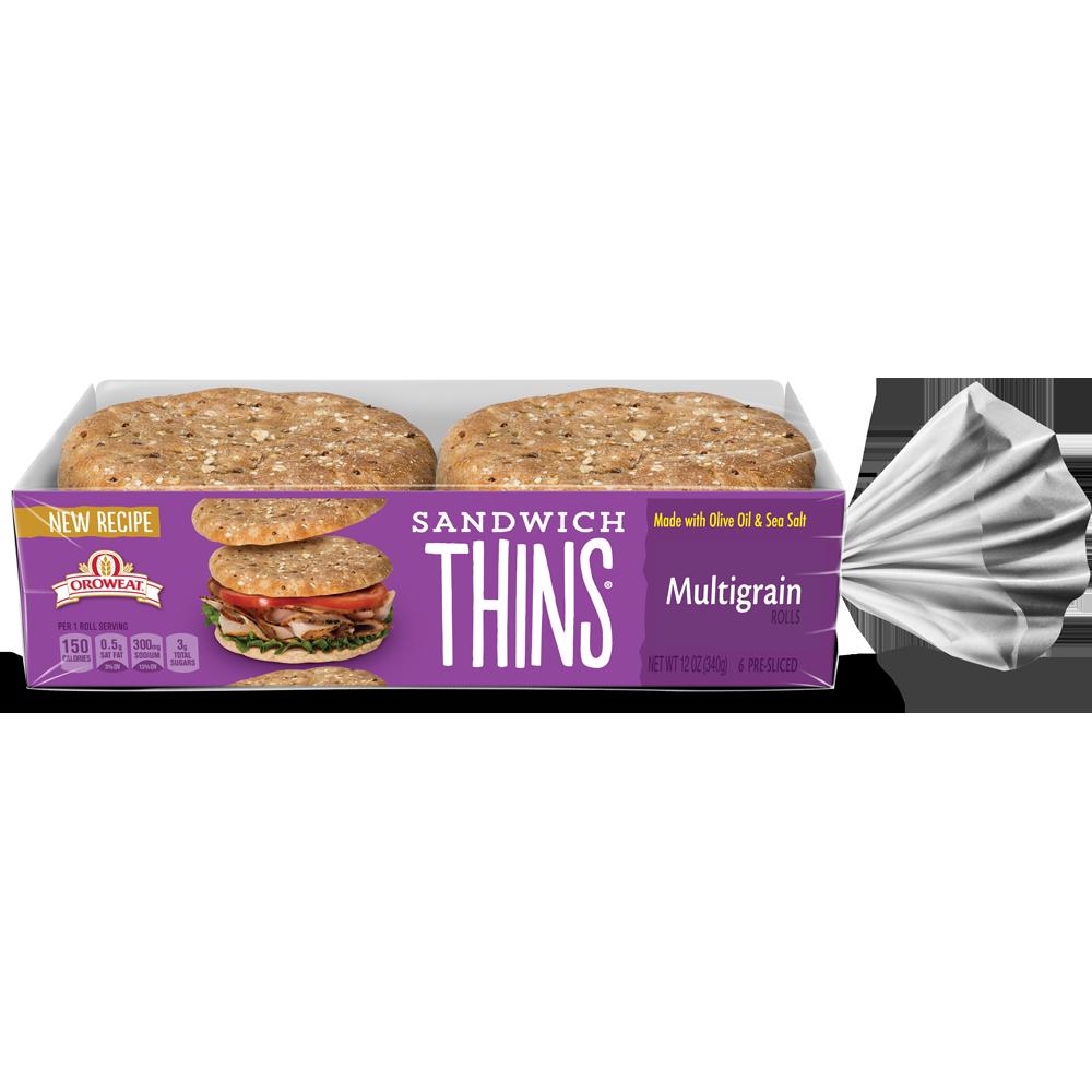 Oroweat Multigrain Sandwich Thins Package Image
