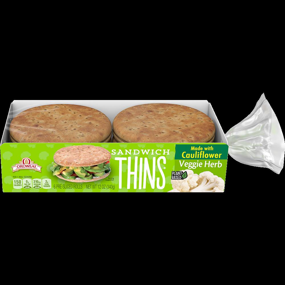 Oroweat Veggie Herb Sandwich Thins Rolls Made with Cauliflower