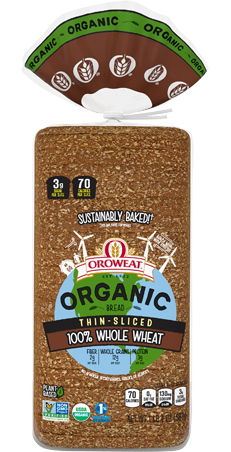 Oroweat Organic Thin Sliced 100% Whole Wheat Package