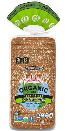 Oroweat Organic Thin Sliced 22 Grains & Seeds Bread Package