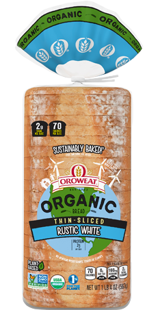 Oroweat Organic Thin Sliced Rustic White Bread Package Image