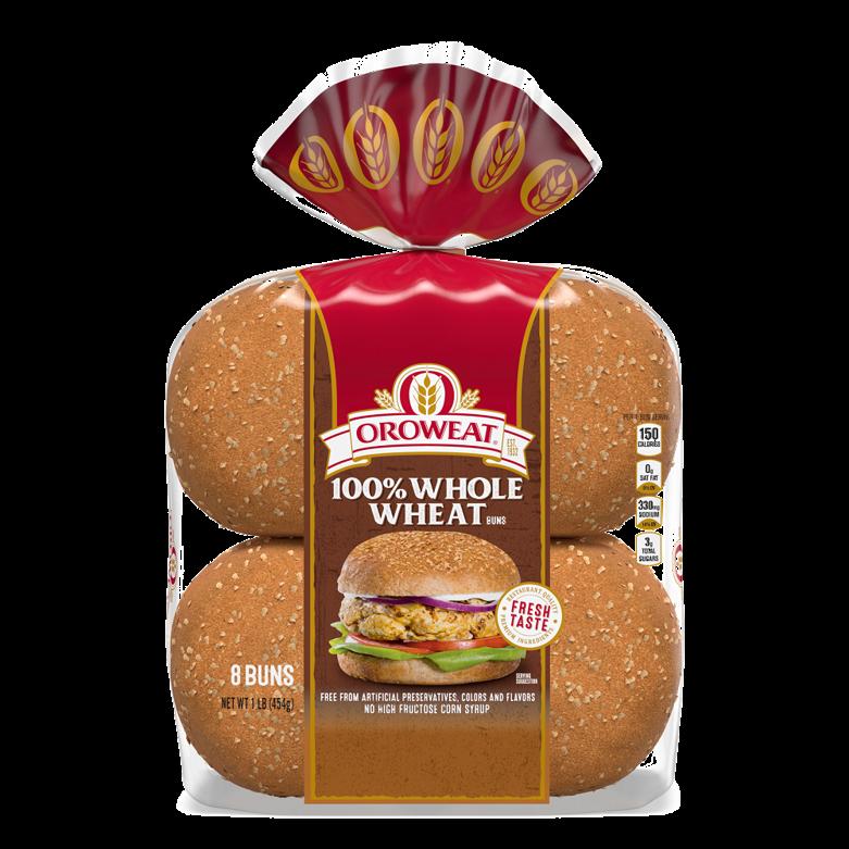 Oroweat 100% Whole Wheat Sandwich Buns Package