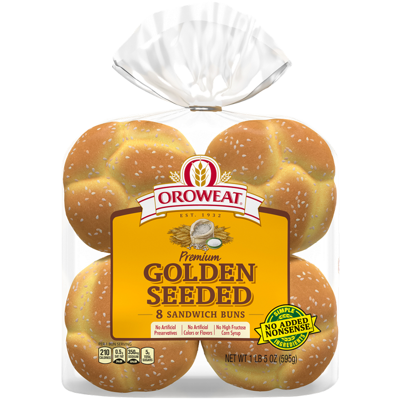 Oroweat Premium Golden Seeded Large Sandwich Buns Package