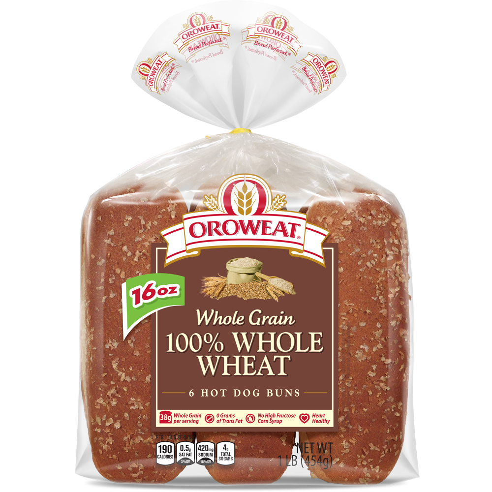 Oroweat 100% Whole Wheat Large Hot Dog Rolls Package Image