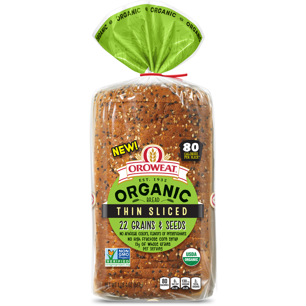 Oroweat Organic Thin Sliced 22 Grains & Seeds Bread Package Image