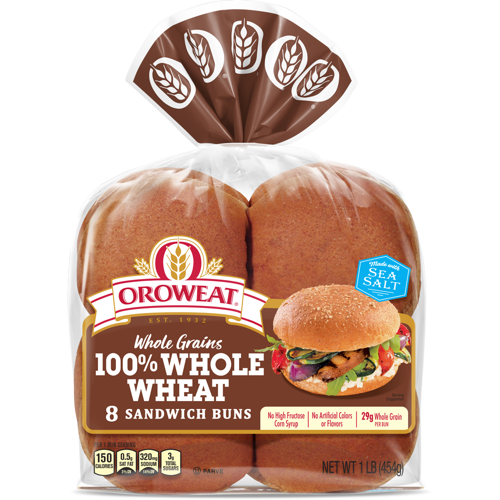 Oroweat 100% Whole Wheat Sandwich Buns Package