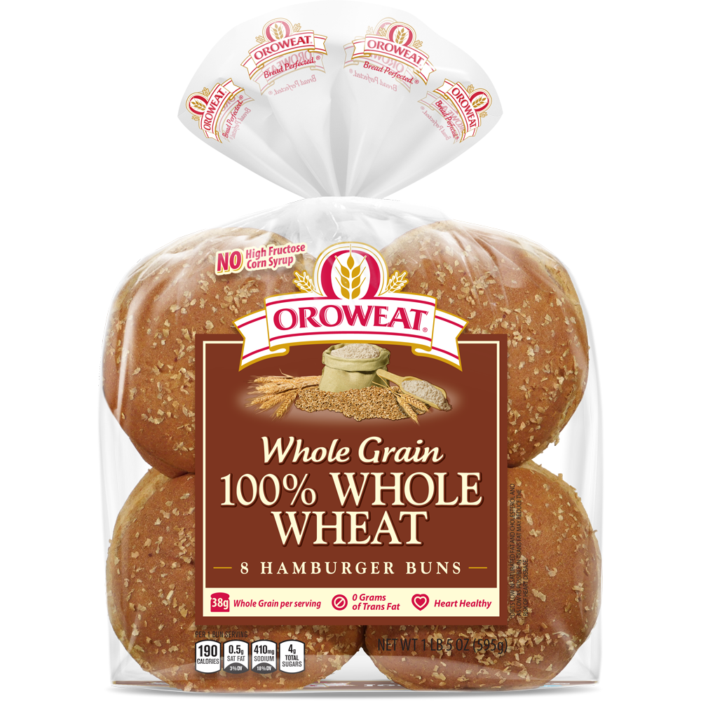 Oroweat Sandwich Buns 100% Whole Wheat Package Image