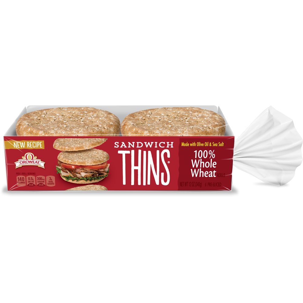 Oroweat Sandwich Thins 100% Whole Wheat Package Image