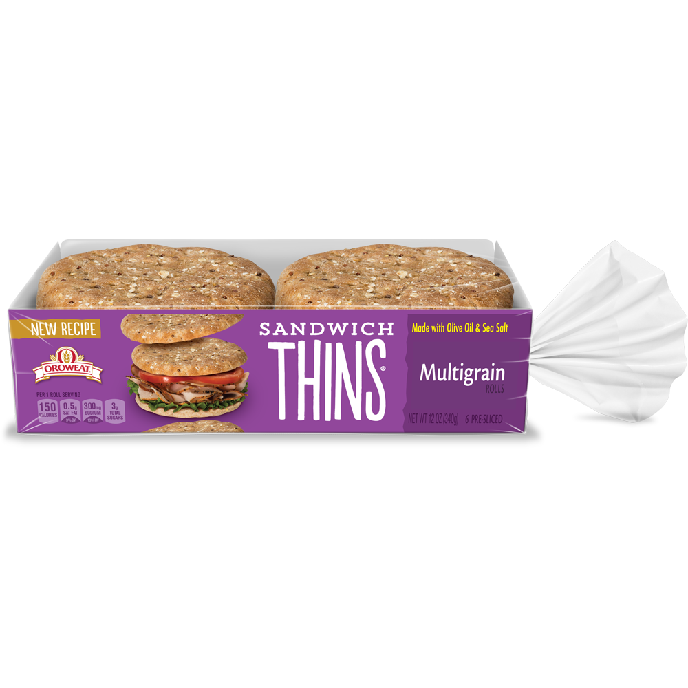 Oroweat Sandwich Thins Multigrain Package Image