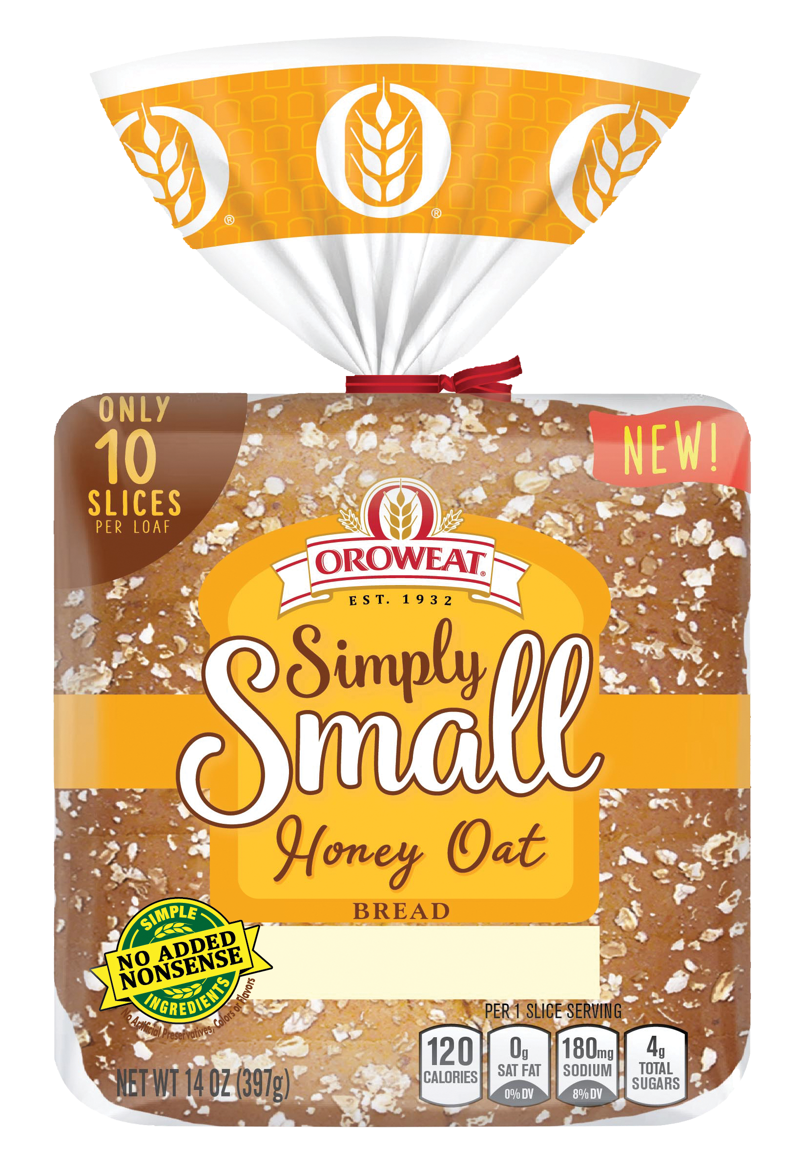 Oroweat Simply Small Honey Wheat Bread Package Image