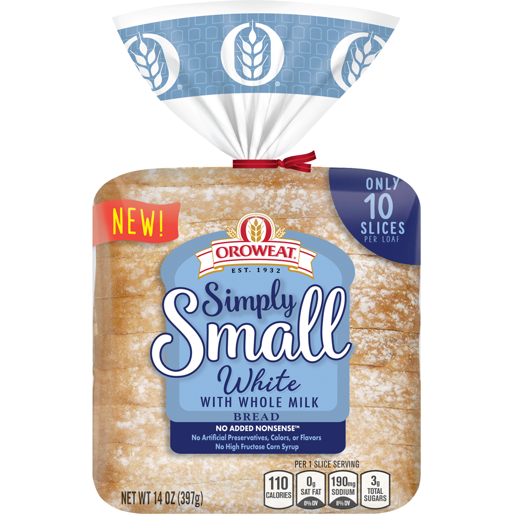 Oroweat Simply Small White with Whole Milk Bread Package Image