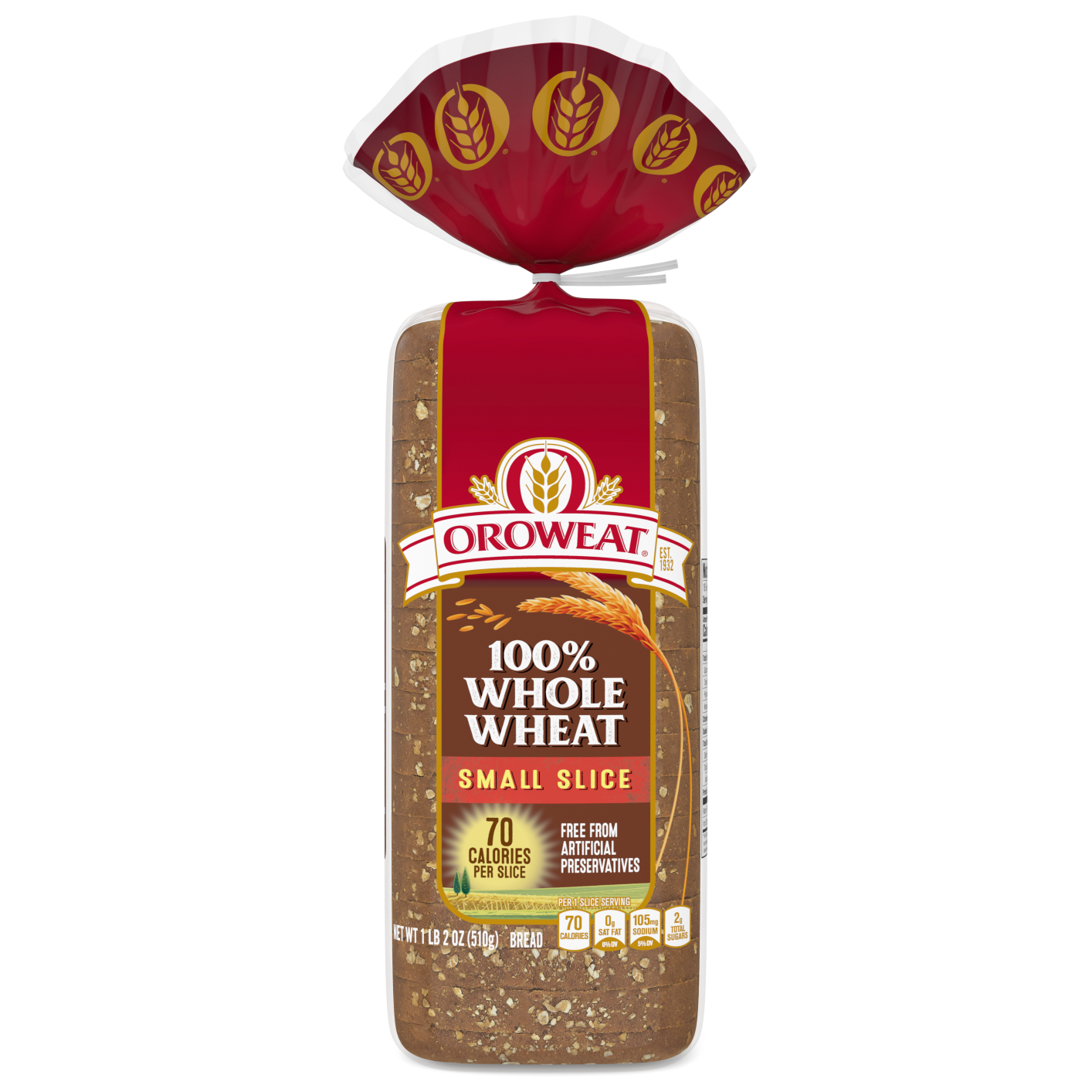 Oroweat Small Slice 100% Whole Wheat 18oz Packaging