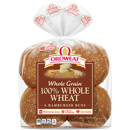 100% Whole Wheat Buns, Large