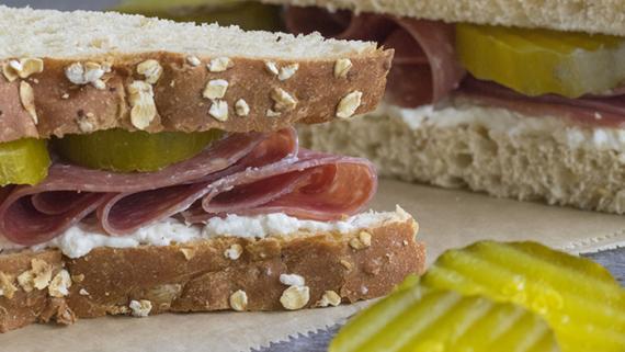 Salami, Cream Cheese & Pickle Sandwich - Recipe Image