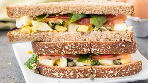 Egg Salad with Smoked Salmon, Arugula, Pickled Red Onion & Lemon Vinaigrette Recipe Image