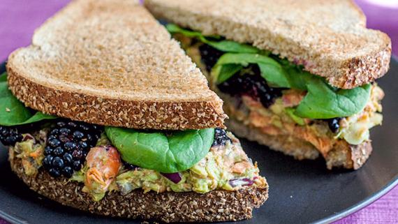 Blackberry-Avocado Salmon Salad Sandwich Recipe Image