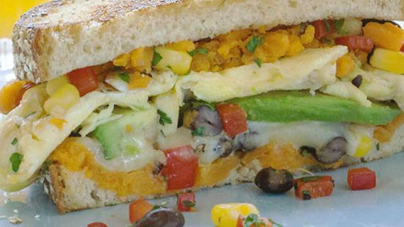 Grilled Southwest Sweet Potato & Egg Breakfast Sandwich Recipe Image