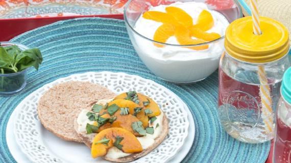 Peach, Basil and Brie Sammie recipe image