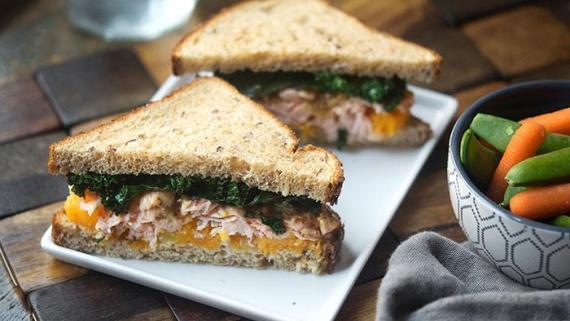 Maple and Mustard Salmon, Butternut Squash and Arugula Sandwich recipe image