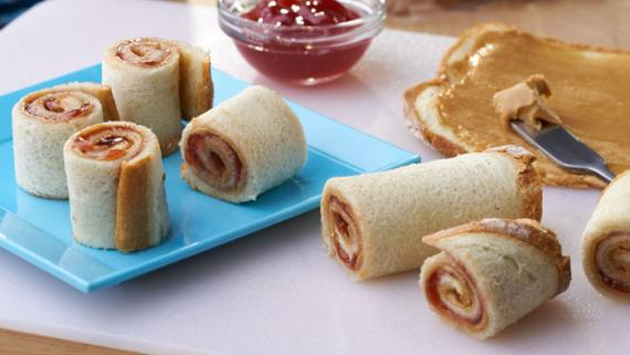 Peanut Butter and Jelly Roll-ups Recipe Image